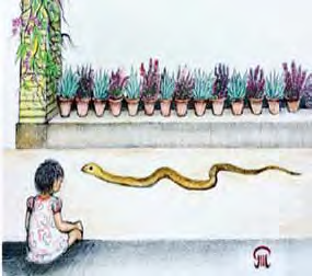child watching snake painting