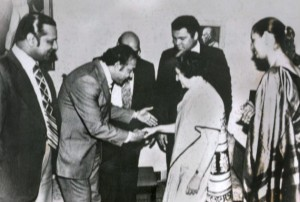 Muhammed Ali and his wife Veronica with Mrs Gandhi. On the left is Reginald Massey. Photo: Special Arrangement