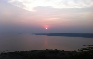 Evening sun over Nagarjuna Sagar