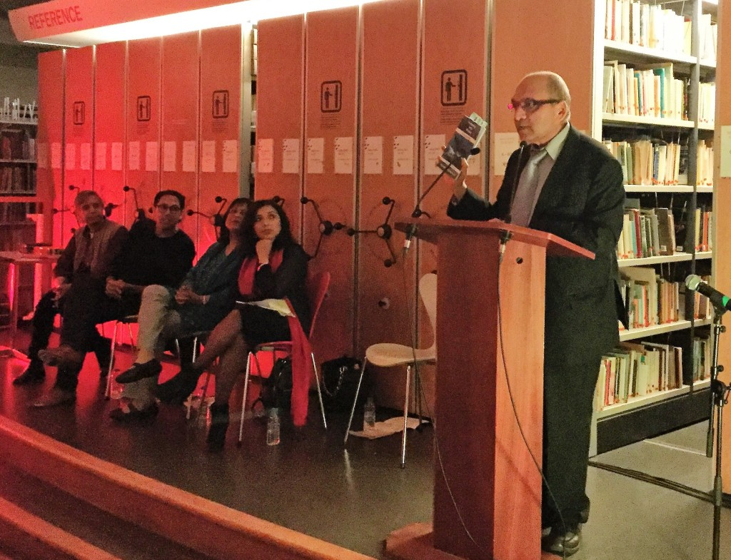 Yogesh Patel introducing the event, his book Swimming with Whales, published on the day, and poets (R-L), Debjani Chatterjee, Rishi Dastidar, Bashabi Fraser and Mona Dash