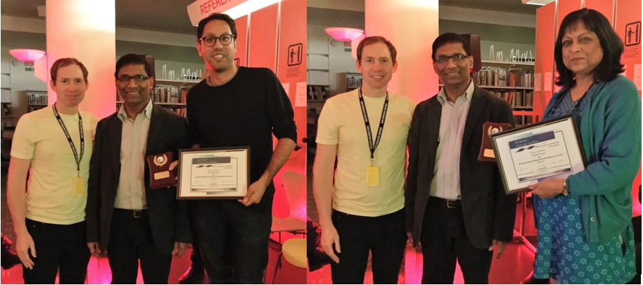 Dr Vijay Anand (Confluence) and Chris McCabe (The Poetry Library) present Word Masala Awards to Rishi Dastidar  and Bashabi Fraser