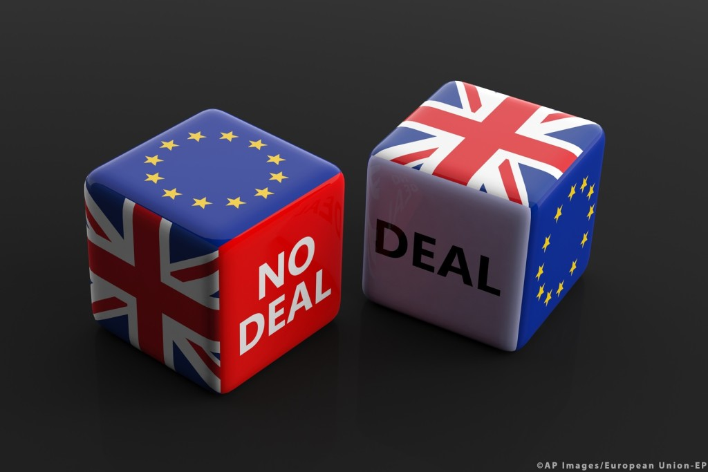 Brexit, deal or no deal concept. United Kingdom and European Uni